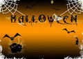 Halloween scary background with combs and creatures Stock Photo