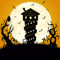 Halloween scary background night with tree moon and house illustration Stock Images