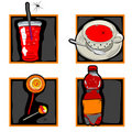 Halloween scary drinks and candy icons Stock Image