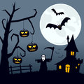 Halloween scary landscape night scene background with the moon over a spooky with a haunted house a ghost pumpkins and bats flying Royalty Free Stock Image