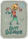 Halloween scary pumpkin head scarecrow, vector postcard for Halloween holiday. Royalty Free Stock Photo