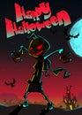 Halloween scary pumpkin scarecrow,vector illustration Royalty Free Stock Photo