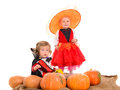 Halloween scene with children Royalty Free Stock Photo