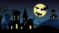 Halloween scene haunted village illustration Royalty Free Stock Photo