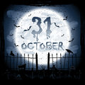 Halloween scene scary night crows in the cemetery illustration Stock Image