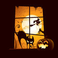 Halloween scene view from window Royalty Free Stock Images