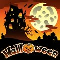 Halloween scenery with sign 1 Royalty Free Stock Photos