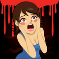 Halloween screaming girl illustration of a pretty over bloody background in holiday party Stock Photos