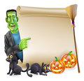 Halloween scroll with frankenstein or banner sign orange carved pumpkins and black witch s cats witch s broom stick and cartoon Royalty Free Stock Image