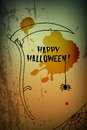 Halloween scythe greeting card with drawing Royalty Free Stock Photo