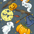 Halloween seamless background texture with ghosts moon owls and pumpkins Royalty Free Stock Images