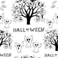 Halloween seamless black and white cartoon bright background Royalty Free Stock Photo