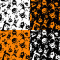 Halloween seamless cute patterns set Stock Photography