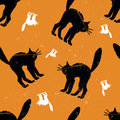 Halloween seamless pattern with black cat Royalty Free Stock Photos