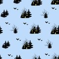 Halloween seamless pattern. Black silhouettes of a forest and a haunted house. Endless texture for fabric, tile, wrapping paper,