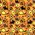 Halloween seamless pattern with cats Stock Photos