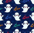 Halloween seamless pattern with cute kawaii ghosts vector illustration of Royalty Free Stock Photos