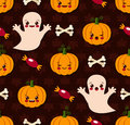 Halloween seamless pattern with cute kawaii vector illustration of Stock Image