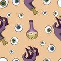 Halloween seamless pattern with eyes and vials with potion.