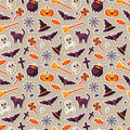 Halloween Seamless Pattern with Flat Sticker Icons