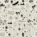 Halloween seamless pattern with icons Stock Photo