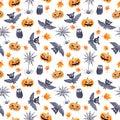 Halloween seamless pattern - pumpkin, bat, owl. Cute naive watercolor Royalty Free Stock Photo