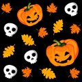 Halloween seamless pattern with pumpkin leaves and scull illustration cute Stock Image