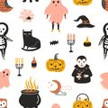 Halloween seamless pattern with scary and spooky magic fairytale characters on white background - ghost, skeleton