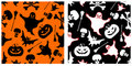 Halloween seamless patterns. Royalty Free Stock Photo