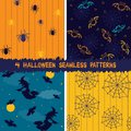 Halloween seamless patterns collection of backgrounds Stock Photo