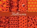 Halloween seamless patterns. Pattern with Lamp Jack, witch with bats and crows.