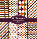Title: Halloween seamless patterns. Vector set.