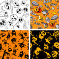 Halloween seamless set vector background Stock Photos