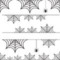 Halloween set of border cobweb with spider.