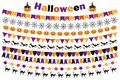 Halloween set of festive decorations flags, bunting, garland. Collection of elements for your design.  on white Royalty Free Stock Photo