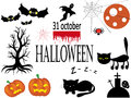 Halloween set icons isolated in the white Royalty Free Stock Images