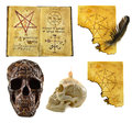Halloween set with magic papers isolated collection of the black and white skulls the book and the Stock Photography