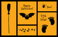 Halloween set of silhouettes bat
