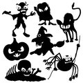 Halloween set silhouettes on white background Stock Image
