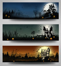 Halloween set of three banners Royalty Free Stock Images