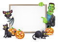 Halloween sign with bat and frankenstein or banner orange pumpkins black witch s cats witch s broom stick cartoon Stock Photos