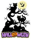 Halloween sign with cats Stock Images