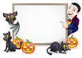 Halloween sign with dracula and vampire bat or banner orange pumpkins black witch s cats witch s broom stick cartoon Royalty Free Stock Photo