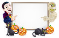Halloween sign with mummy and dracula or banner orange pumpkins black witches cats witch s broomstick cartoon vampire Royalty Free Stock Images