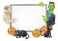 Halloween sign with mummy and frankenstein or banner orange pumpkins black witch s cats witch s broomstick cartoon monster Royalty Free Stock Photo