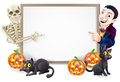 Halloween sign with skeleton and dracula or banner orange pumpkins black witch s cats witch s broom stick cartoon Royalty Free Stock Images
