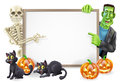 Halloween sign with skeleton and frankenstein or banner orange pumpkins black witch s cats witch s broomstick cartoon monster Stock Photography