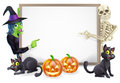 Halloween sign with skeleton and witch or banner orange pumpkins black s cats s broom stick cartoon Stock Photo