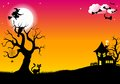Halloween silhouette background vector illustration of Stock Photo