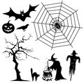 Halloween silhouette collection set black shapes spider witch pumpkin cat raven bat vector illustration Stock Photo